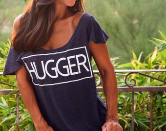 HUGGER.  Off the Shoulder Flutter Sleeve Flowy Muscle Tee.  6 colors to choose from, Made Entirely in the USA.