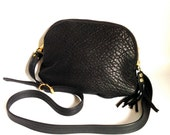 AW13 Leather bag in super textured black lamb hide // converts to clutch - gold hardware
