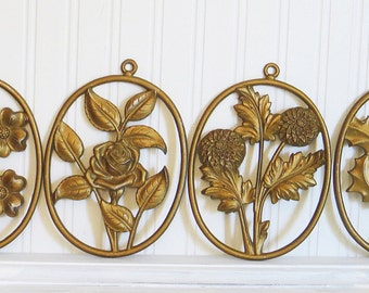 Four Seasons Floral Wall Decor Gold Cast Aluminum by Sexton Metalcraft Vintage