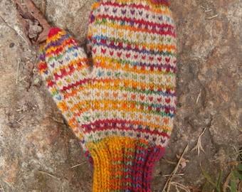 Rainbow Mittens hand knit traditional Norwegian pattern