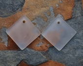 2 Crystal Cultured Sea Glass 18mm Curved Diamond Square Pendants - Cultured Beach Glass