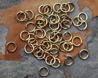 25 Antique Gold 4.5mm Small Jump rings - Nunn Designs