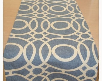"China Blue and Ivory 72"" Table Runner Geometric Design Cream Modern 6ft 180cm"