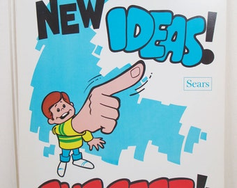 Vintage Poster Sears Work Workplace Motivational Point Out New Ideas - Suggest