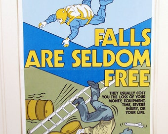 Vintage Work Safety Poster Falls Are Seldom Free Skydiver Ohio Workplace