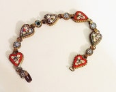 Italian Hand Made Micro-Mosaic Heart Design Bracelet  WWII Era Came Home as a Love Token for His Bride