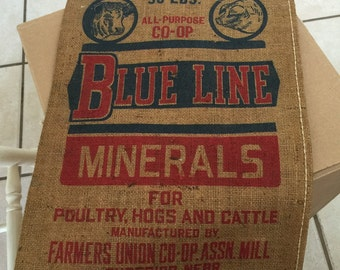 Burlap Feed Sack Minerals for Animas Farmers Union Co-Op  Bright Graphics and Sturdy Burlap  Vintage Burlap Bag