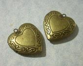 2 Bronze Heart Lockets, Etched Heart Lockets, Memory Locket Pendants 26mm x 29mm