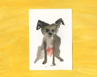 100 Hideous Hounds - No. 14 - Original Gouache dog painting