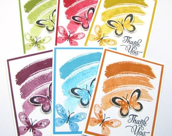 Stampin'Up Work of Art Thank You Cards with Watercolor Wings Multi-Color Set of 6