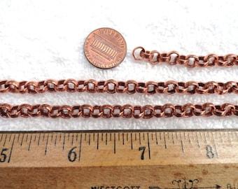 Vintage Steel Rolo/Belcher Chain, Copper Tone, 5 Feet, 5mm x 2mm