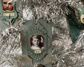 Dear Christmas Collage Wooden Ornament with angel wings in a beautiful deep teal color