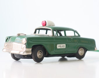 Vintage Police Car, Line Mar Green Toy Police Car