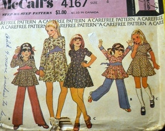 Vintage Sewing Pattern McCall's 4167 Girls' Dress and Pants Size  6 UNCUT Complete