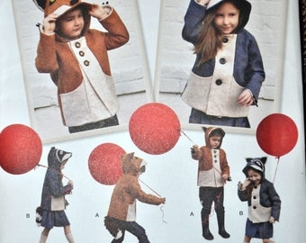 Sewing Pattern Simplicity 1477 Child's Fox and Raccoon Jacket Size 3-8 UNCUT   Complete