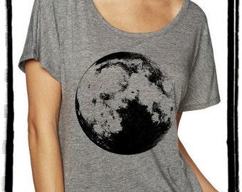Full Moon Dolman Tee Loose Slouchy Heathered tshirt shirt