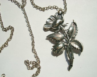 Pretty Stemmed Flower Necklace Or Just the Pendant, Beautiful Sterling Silver Ox Finish, Great Detailing, Victorian Flair, USA Flair, USA