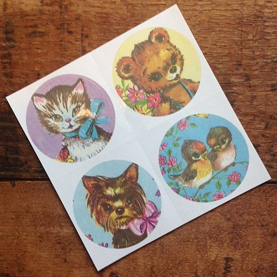 Basket Making Supplies Massachusetts : Vintage inspired sticker sheet colorful animals