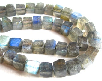 Labradorite semiprecious stone cubes - 10 inch strand - 5mm - gorgeous faceted semiprecious stones