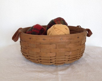Vintage Longaberger Basket, Signed,  Collectible Round Basket with Leather Handles