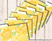 Recipe Cards, Dividers, Tabs, Flower, Dahlia, Garden, Bloom, Pattern, Printed, Yellow, Lemon, Light, Green, Cooking, Food, Kitchen, Set of 6