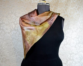 Hand painted silk scarf, square, in autumn tones