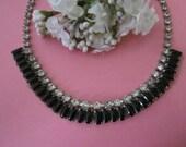 Vintage Rhinestone Necklace silver and black