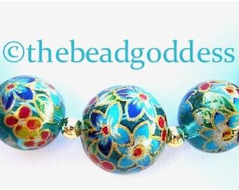 New GRADUATED Japanese TENSHA Beads Clematis Aqua  10, 12 &14mm