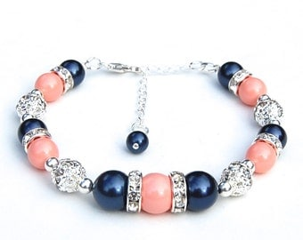 Bridesmaid Bracelets, Navy and Pink Coral Pearl Rhinestone Bracelet, Bridesmaids Gifts, Bridal Party Jewelry