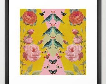 Love Birds collage art print- yellow- pink- blue- vintage- flowers- birds- nature-butterflies-wall art- home decor