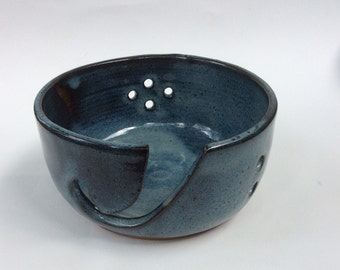 HANDMADE ceramic knitting and crochet bowl, pottery, blue bowl, dragonfly, gift, ready to ship Y8