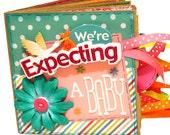 We're Expecting- Pregnancy Premade Scrapbook - Paper Bag Album - Baby Memory Book