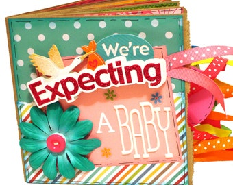 We're Expecting- Pregnancy Premade Scrapbook - Mini Paper Bag Album - Baby Memory Book