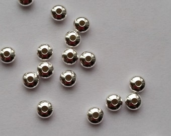 4mm Rounded Saucer Sterling Silver Shiny Rondelle Spacer Beads (20 beads)