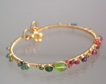 Vibrant Gemstone Bracelet, Gold Filled Bangle, Wire Wrapped, Rainbow, Peridot, Spinel, Sapphire, Tourmaline, Original Design, Made to Order