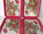 Strawberry Serving Tray Set Place Mat Set of Four Aluminum