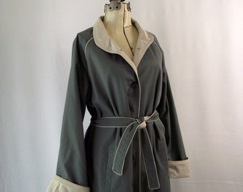 Womens Trench Coat Grey and Taupe 1970's Rain Coat
