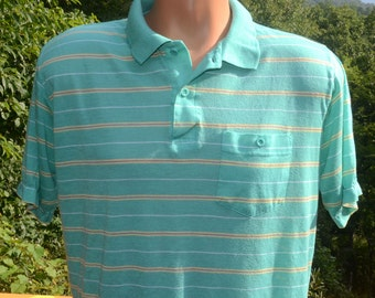 vintage 80s polo GOLF shirt mint green pastel stripe collar preppy Medium southern classics soft thin