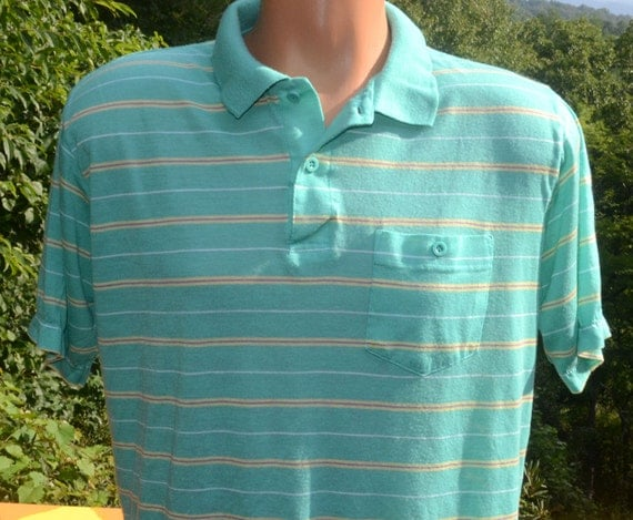 Vintage 80s polo golf shirt mint green pastel stripe collar for Mint color polo shirt