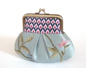 Petite pocket purse, pleated coin pouch, embroidered silk, mini bag, bridesmaid gift, BLUEBIRD