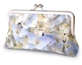 Clutch bag, silk purse, flower petals, wedding purse, bridesmaid, gift for her, something blue, HYDRANGEA