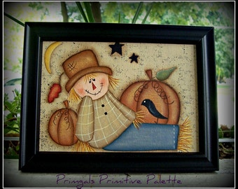 Scarecrow Pumpkin Crow 5 x 7 Framed Canvas Panel-Hand Painted-Home Decor Picture