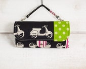 iPhone SmartPhone Clutch Wallet Purse with ID Pocket n Shoulder Strap n Purse Handle / Echino Scooter in Nighty Lime -- Ready to Ship