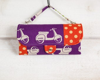 iPhone SmartPhone Clutch Wallet Purse 12 Card Slots with ID Pocket n 2 straps  / Echino Scooter in Grape - Ready to Ship