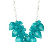 Aqua Moonglow Dew Drop Statement Necklace - lucite bauble on chain necklace