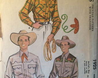 SALE - Adorable Vintage 1954 McCall's Men's Shirt Pattern #1925 Size Small Neck 14-14.5 - WV