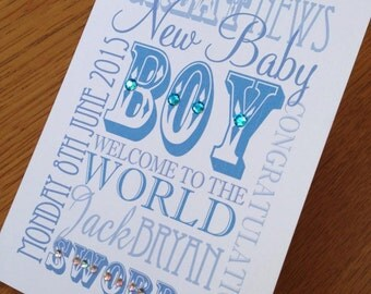 New Baby Birth Congratulations Typographic Card with Names and Date - Pink or Blue