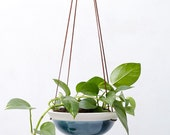 Teal Blue Large Hanging Planter in White Porcelain and Suede // Modern Home Decor for Your House Plant Collection