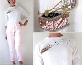 Vintage 60s 70s Sequined Phonograph and Embroidered Music Notes Sweater
