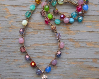 Sun drops Multi coloured czech crystal crocheted boho necklace with silver hammered heart